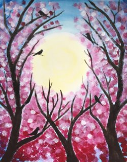 Blossoming by Moonlight- Muse Paintbar