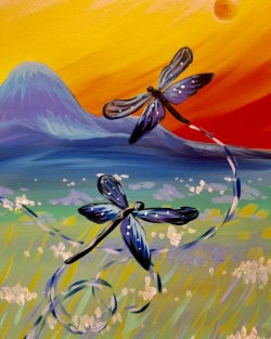 Dancing Dragonflies- Muse Paintbar