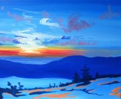 Maine Mountain Sunset- Muse Paintbar