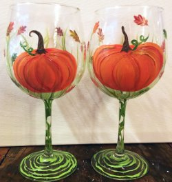 Pumpkin Patch Wine Glasses- Muse Paintbar