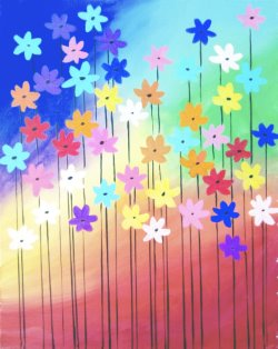 Rainbow Daisies- Muse Paintbar