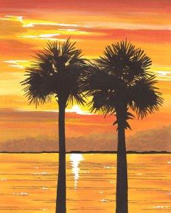 Sabal Palm Sunset- Muse Paintbar