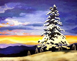 Snowy Evergreens- Muse Paintbar
