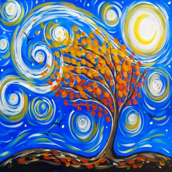 Canvas Painting Class on 10/17 at Muse Paintbar Gaithersburg