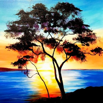 Canvas Painting Class on 02/09 at Muse Paintbar Portland
