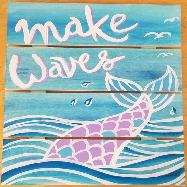 Wooden Sign Painting on 07/24 at Muse Paintbar West Hartford