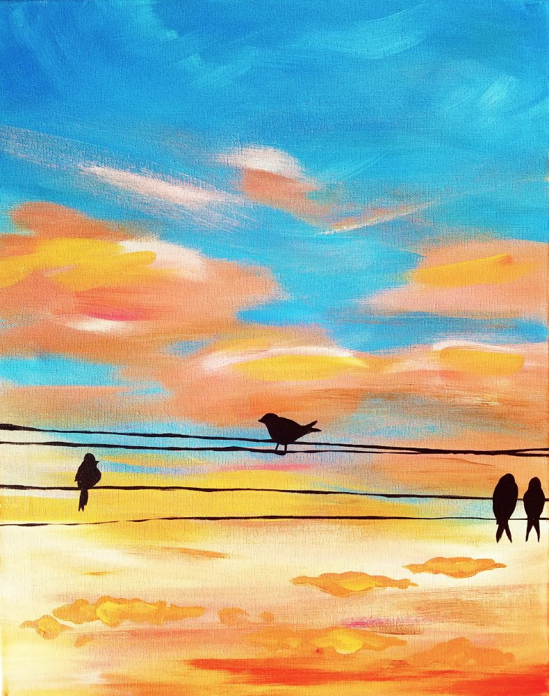 Birds on a Wire- Muse Paintbar