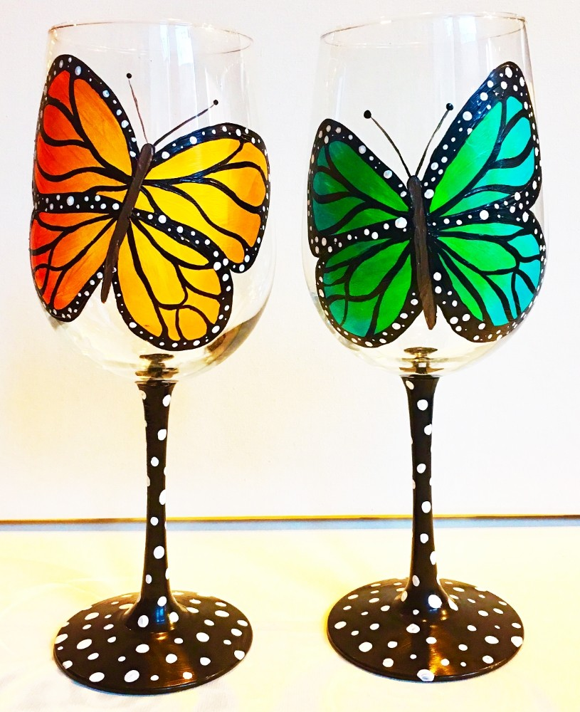 Butterfly Wine Glasses- Muse Paintbar
