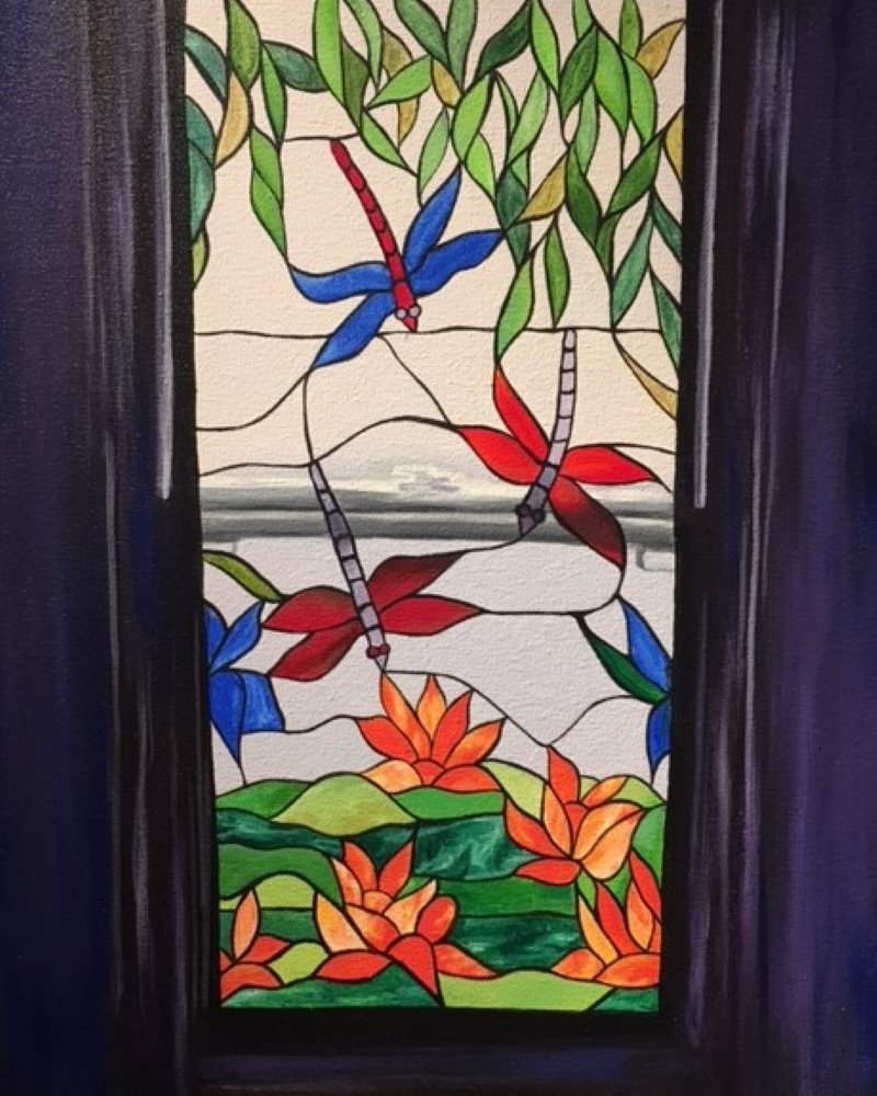 Dragonfly Stained Glass- Muse Paintbar
