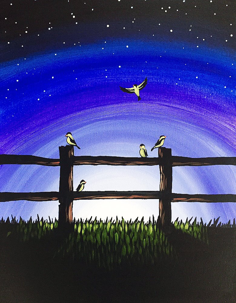 Fence of Finches- Muse Paintbar