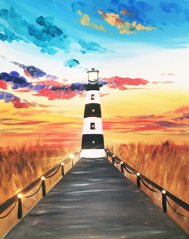 Lighthouse at Sunset- Muse Paintbar
