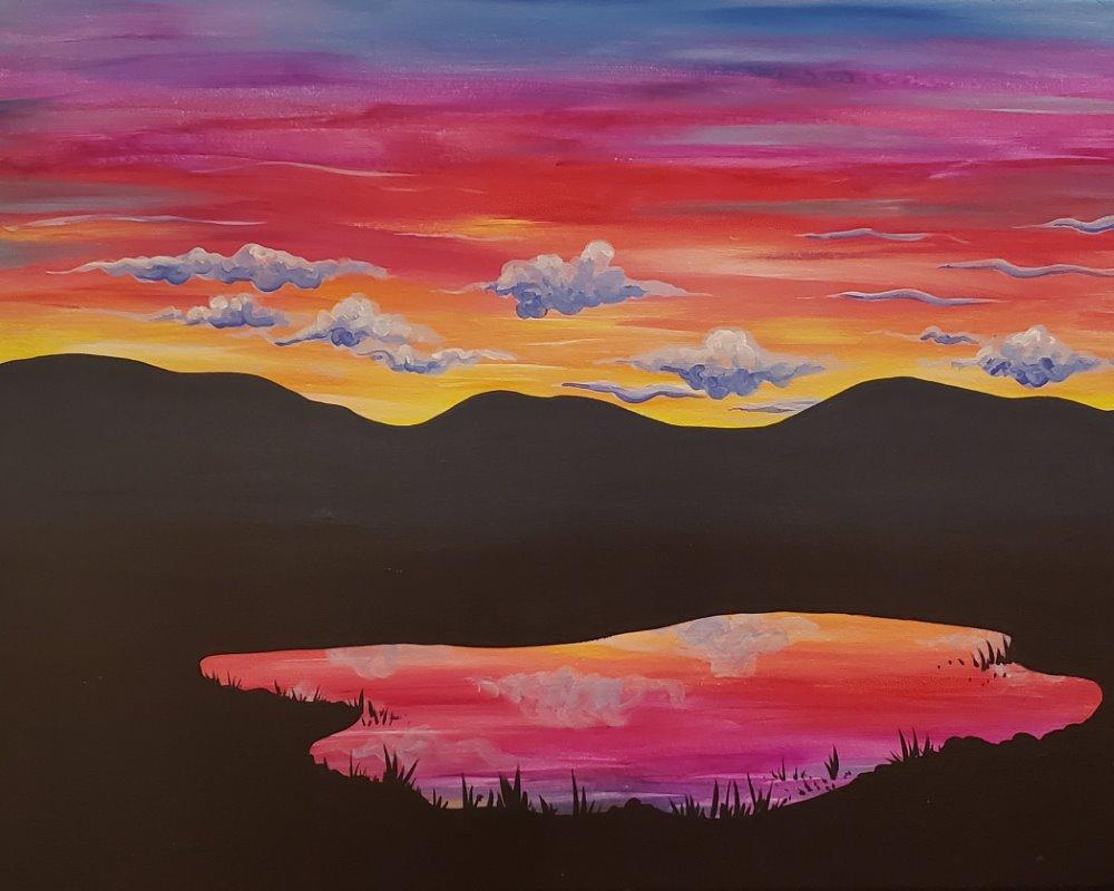 Mountain Lake Sunset- Muse Paintbar