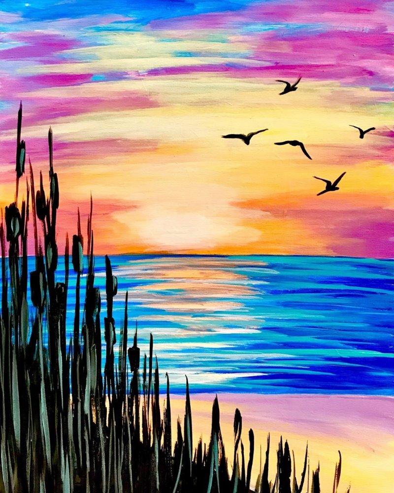 Seagull Sunset- Muse Paintbar