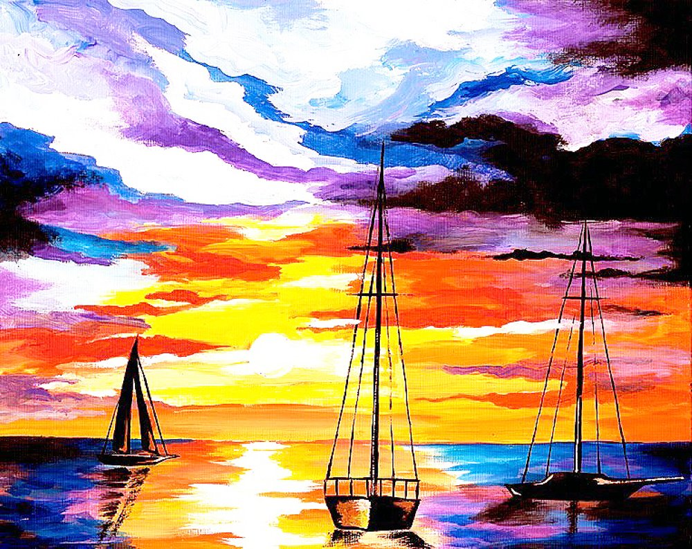 Sunset Sailboats- Muse Paintbar