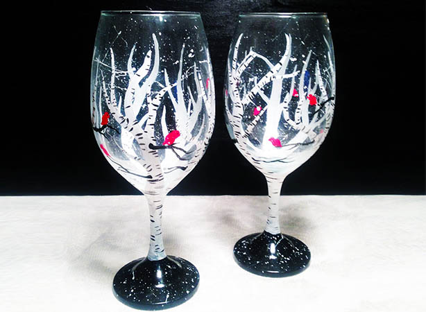 Wine Glass Painting - Cardinal Birches