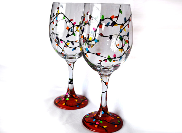 Wine Glass Painting - Colorful Lights