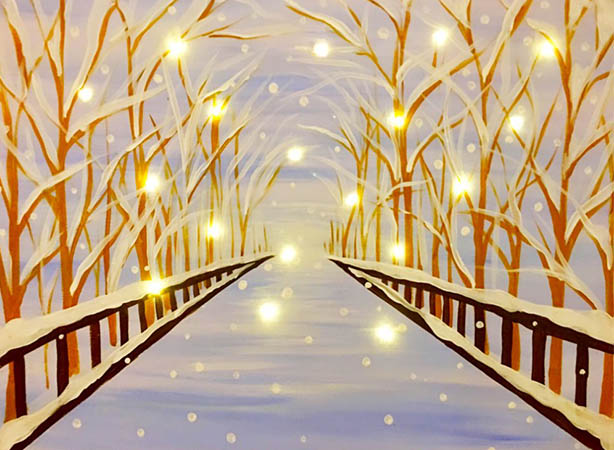 LED Lights in Painting - Sparkly Snow